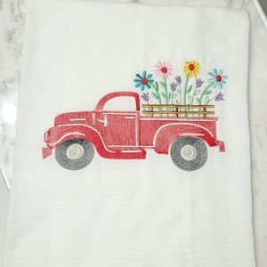 Decorative towel - spring time vintage red truck